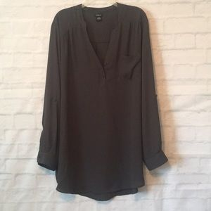Torrid gray long sleeve top blouse shirt sz 3